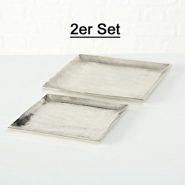 """Deko Teller Tablett """"Flaire"""" silber quadratisch 2er Set - L 20 - 25cm, 3833900, 4020607343511"""