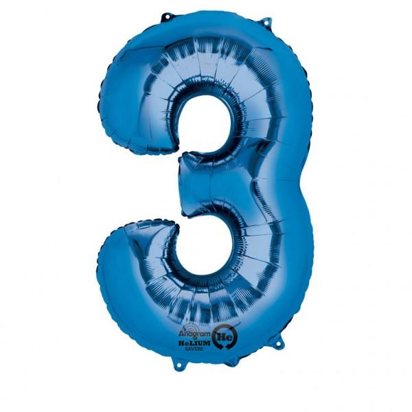 XXL Folienballon Zahl 3 blau, Heliumballon, Zahlenballon