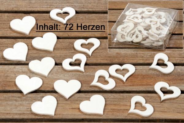 Streu Deko Herzen Holz weiß 72 teilig, 4020606973467, 5521200
