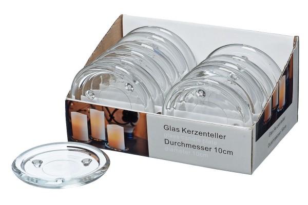 Glas Kerzenteller klar rund D10cm - für Stumpenkerzen, 4804100, 4020606947871
