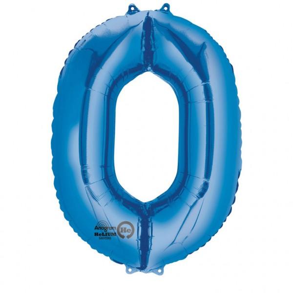 XXL Folienballon Zahl 0 blau, Heliumballon, Zahlenballon