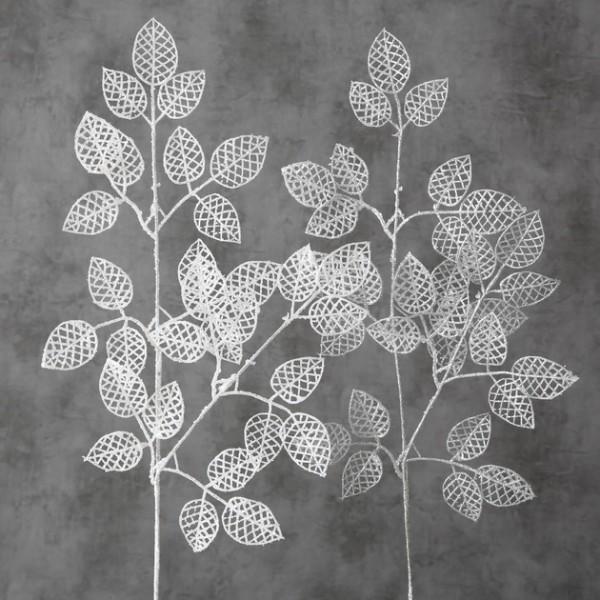 Deko Zweig Blätter weiß / silber - H 80cm, 1015561, 4020607650497