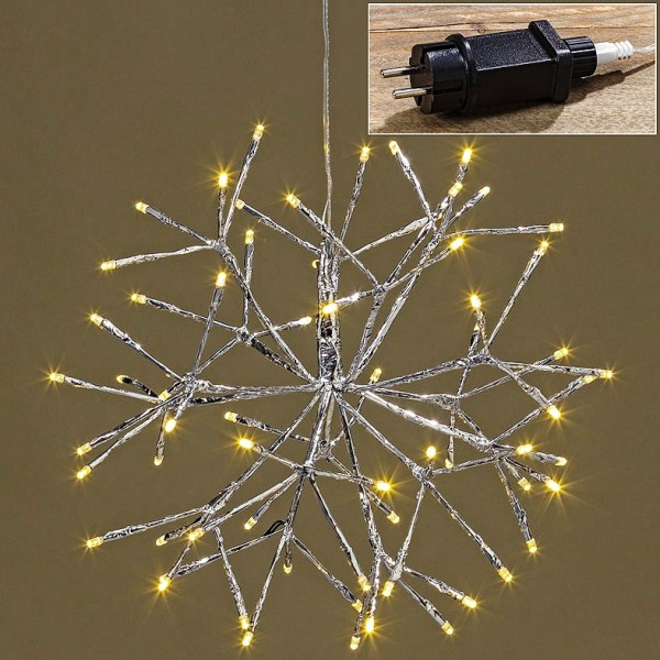 LED Stern silber Leuchtstern, Weihnachtsbeleuchtung, 2000177, 4020607450578