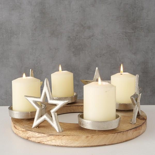 Kerzenleuchter Adventsleuchter rund aus Holzm mit Sternen silber Durchmesser 30cm, 2005685, 4020607801202
