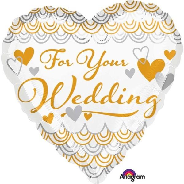 Heliumballon Folienballon Herz For Your Wedding gold weiß, 026635351911