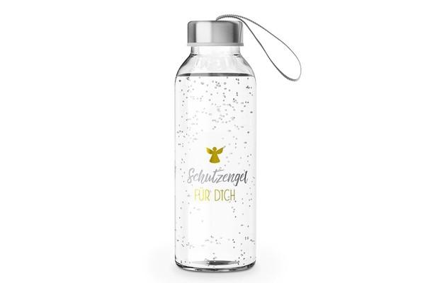 """Glas Trinkflasche mit Verschluss und Motiv / Spruch """"Schutzengel für Dich"""", 540655, 4027268266685"""
