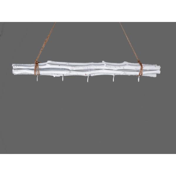 Hänger Zweig Bündel weiß mit 5 Haken 50 cm, Dekozweig, Deckenhänger, 551184 Formano