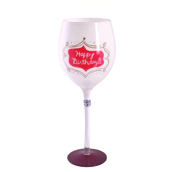 Weinglas Happy Birthday, milchig weiß mit pink, 750035, 4029811317431