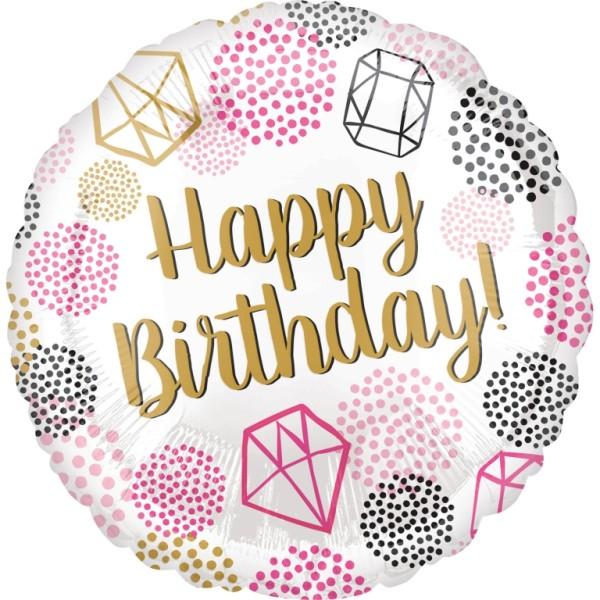 Heliumballon Folienballon mit Aufschrift Happy Birthdy