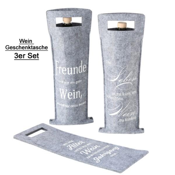 Filz Geschenktasche grau für Wein 3er Set, 1018138, 4020607689763