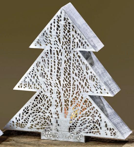 Metall Deko Objekt Teelichthalter Tannenbaum Tanne weiß - Höhe 38 cm Weihnachtsdekoration, 7111100, 4020607432239