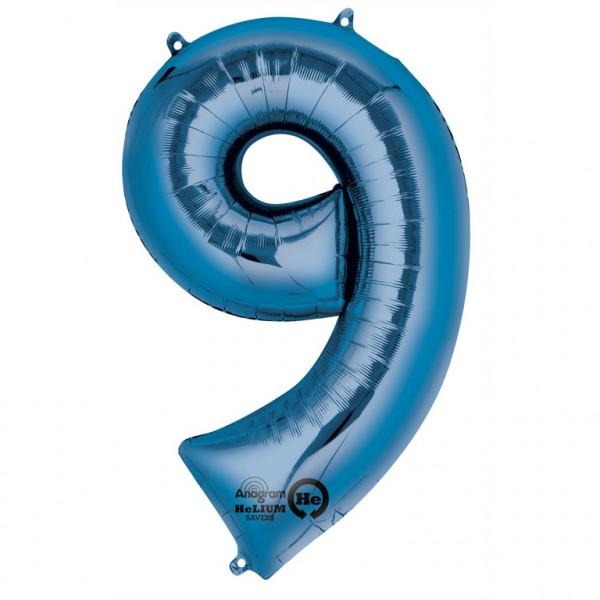 XXL Folienballon Zahl 9 blau, Heliumballon, Zahlenballon