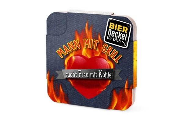 """Bierdeckel aus Pappe mit Spruch """"Mann mit Grill sucht Frau mit Kohle"""", Männergeschenk Grillen, 6 Stück, 213431, 4027268235100"""