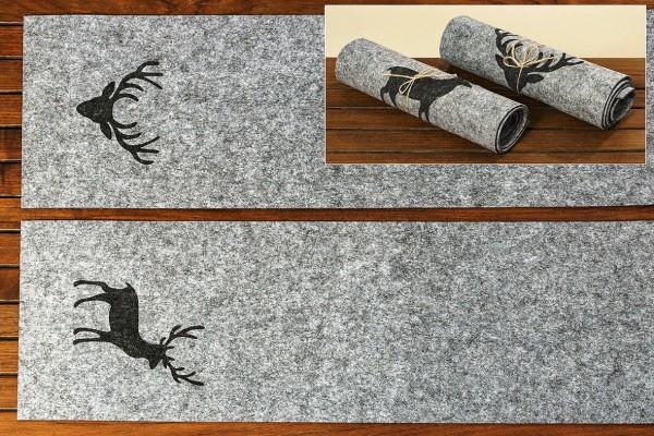 Filz Tischläufer grau Motiv Hirsch Hirschkopf 120x30cm, 1006895, 4020607524163