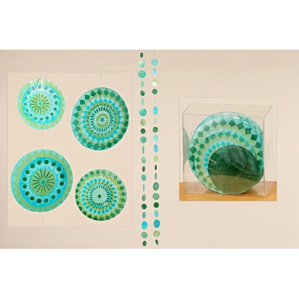 Capiz Girlande Perlmutt blau, türkis, grün, Muschel Windspiel, girlande, 4020606962461, 5037900, Boltze