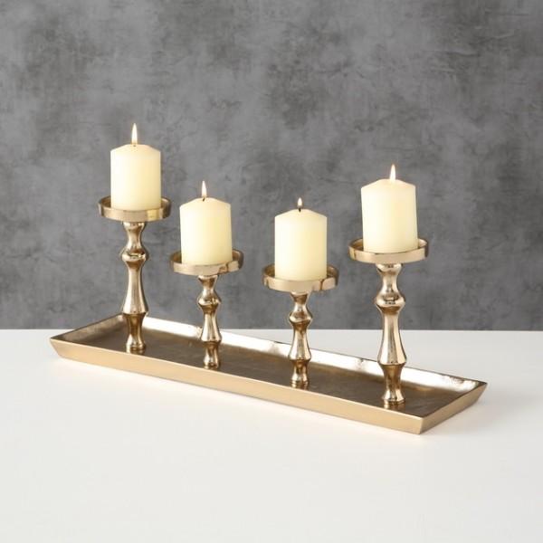 Kerzentablett Farbe champagne für 4 Kerzen, Kerzenleuchterschale, 1016626, 4020607661998