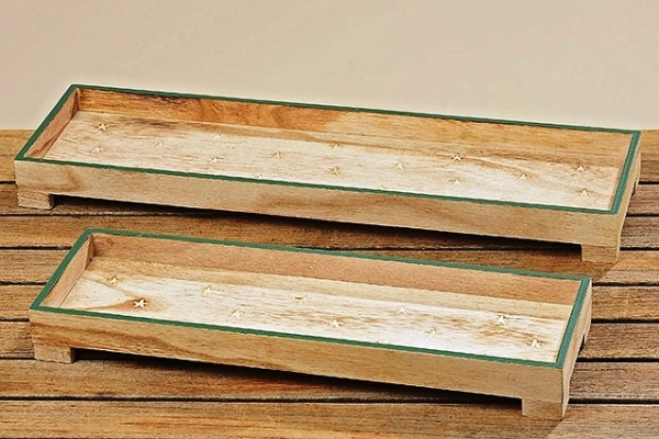 "Holz Deko Tablett ""Stern"" 2er Set - L 40-50cm - Deko-Schale, 3016700,"