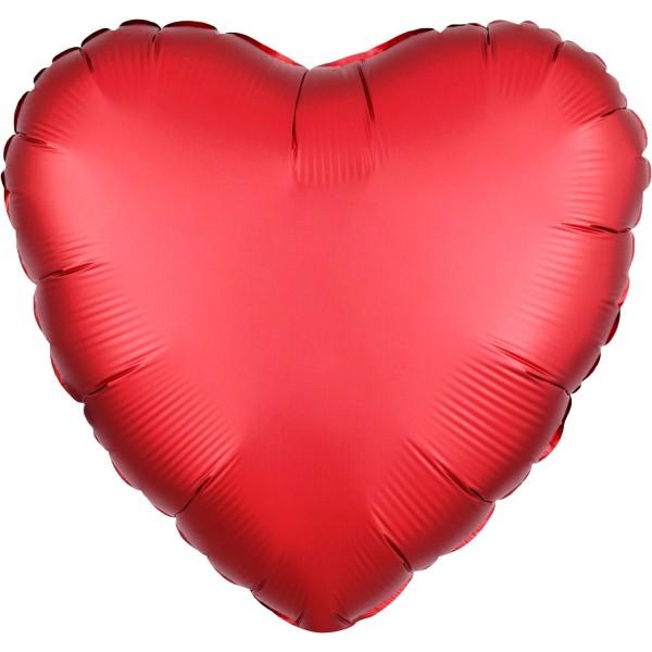 """Heliumballon Folienballon Herz rot matt """"Satin Sangria Heart"""", Herz-Ballon"""