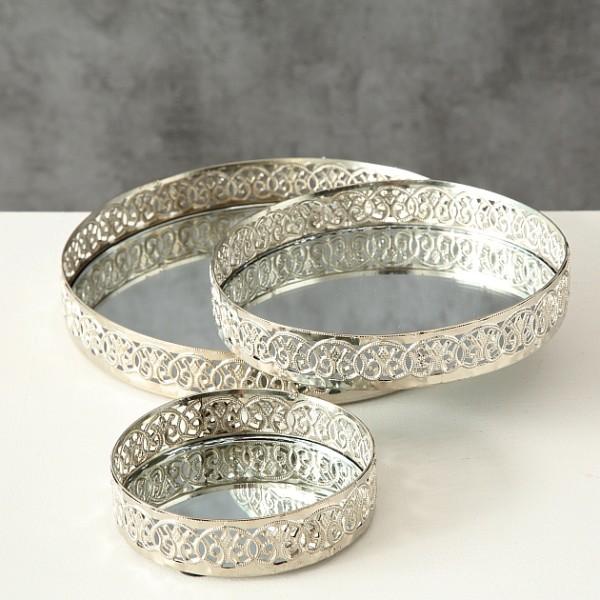 Kerzenteller silber 3er Set - D 10-20cm, Dekoteller mit Spiegel, Tablett rund