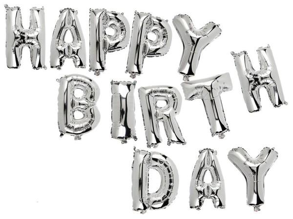 """Luftballon Folien Ballon """"HAPPY BIRTHDAY"""" mit silbernen Buchstaben Schriftzug, Geburtstagsdekoration"""