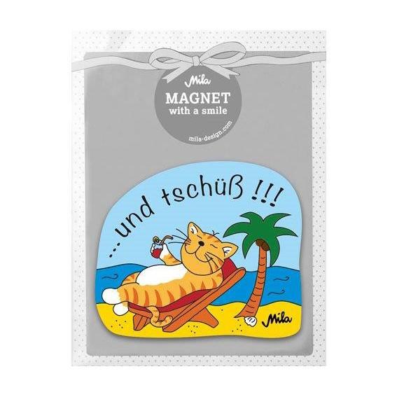 18550, Mila Design, Magnet mit Motiv Oommh ...und tschüß!!!, Mila - Design with a smile, Katze am Strand, Wasser, Sand, Palme, Liegestuhl, orange, gelb, blau, grün, braun, rot, weiß, schwarz