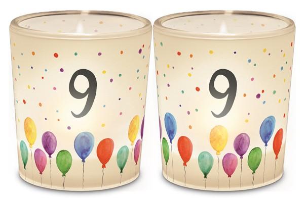 Windlicht Kerzenglas mit Zahl 9