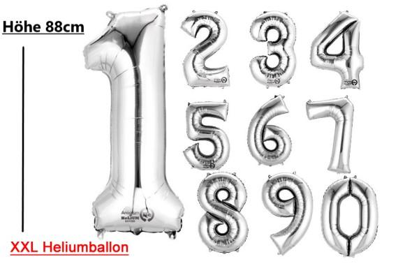 XXL Heliumballon Zahlenballon Folienballon silber 0-9