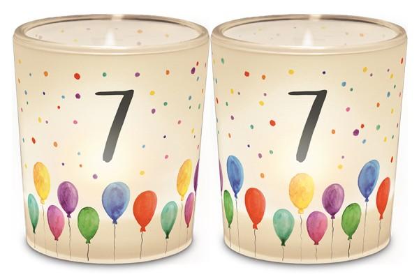 Windlicht Kerzenglas mit Zahl 7