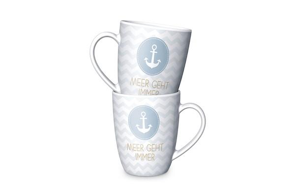 Keramik Becher Tasse mit Motiv Anker und Spruch Meer geht immer