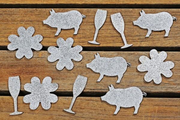 Streu Deko mit Klebepunkt Sektglas, Glücksschwein, Kleeblatt silber glitzer