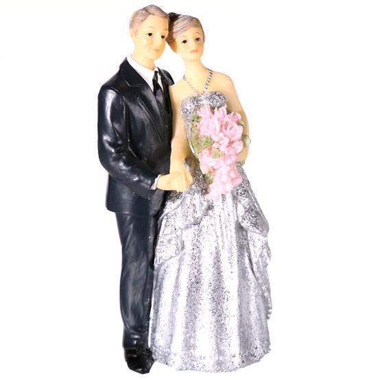 719204 Figur Paar zur Silbernen Hochzeit, schwarz, silber, Hochzeitsdekoration, Hochzeitsgeschenk, out of the blue, Kunststoff, Roxan