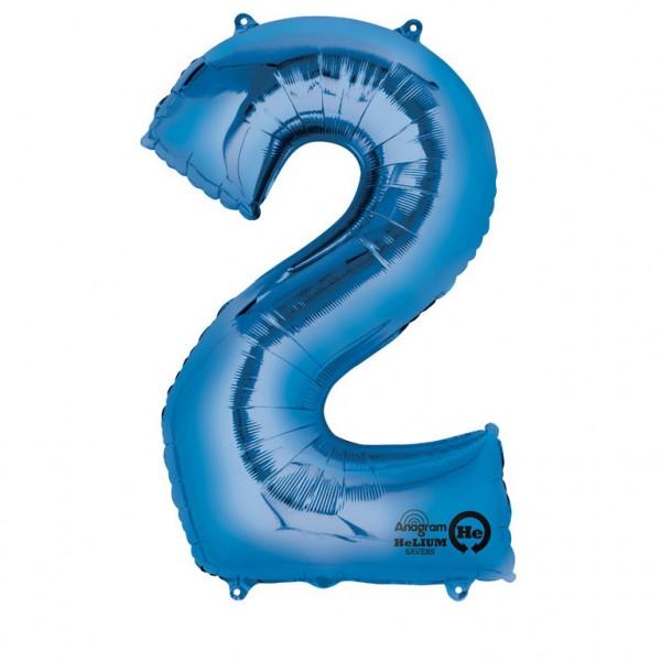 XXL Folienballon Zahl 2 blau, Heliumballon, Zahlenballon