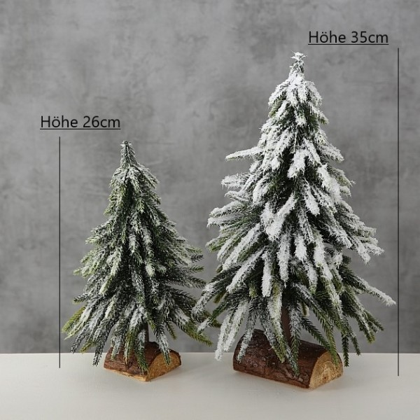 Deko Tanne Weihnachtsbaum grün beschneit Höhe 26-35cm, 1015597, 4020607651050, 4020607651036