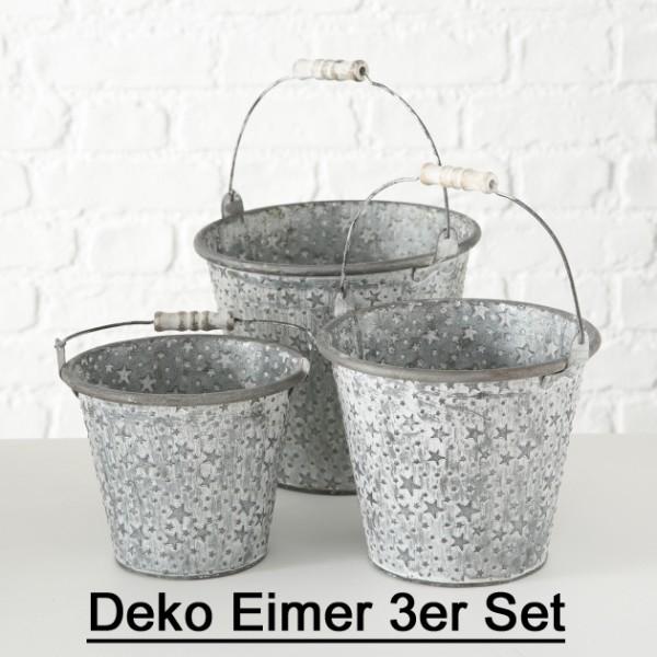 Deko Eimer Zink grau weiß mit Sternen 3er Set, 1015960, 4020607664630