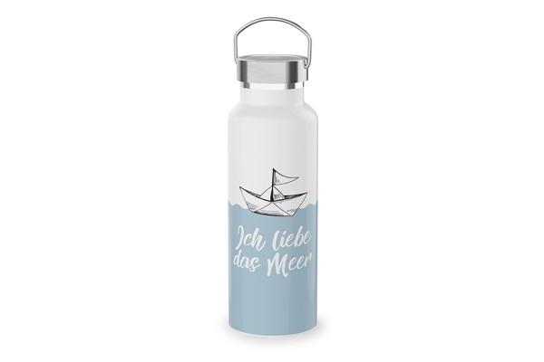 """Edelstahl Thermoflasche Trinkflasche """"Ich liebe das Meer"""", 539813, 4027268284986"""