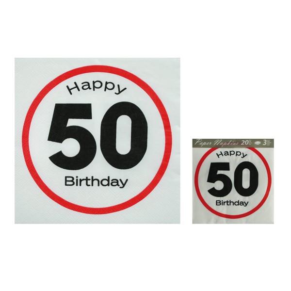 """145133 Papier-Servietten mit """"50 Happy Bithday"""", Geburtstagsdekoration, out of the blue, Geburtstags-Servietten, Geburtstagsservietten, Papierservietten, weiß, rot, schwarz 4029811312375"""