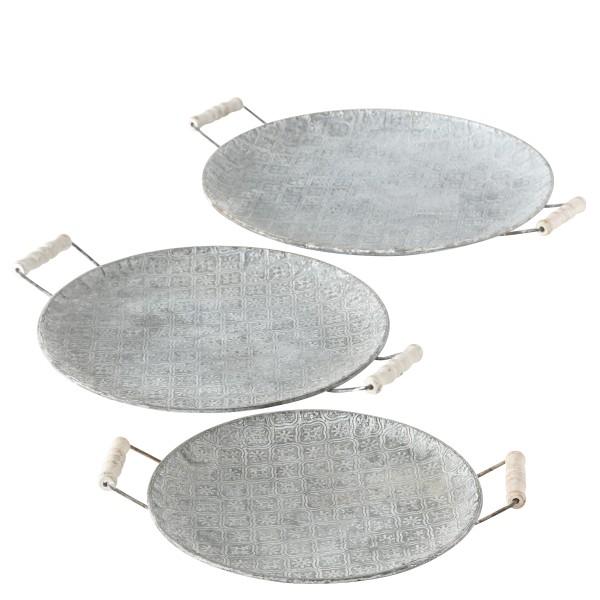 Deko Tablett rund grau 3er Set - D28/34/38cm, 1008924, 4020607553866