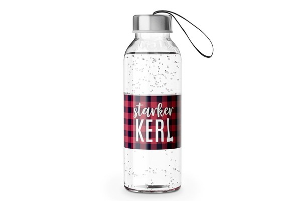 """Glas Trinkflasche mit Verschluss und Motiv / Spruch """"Starker Kerl"""", 540618, 4027268274673"""