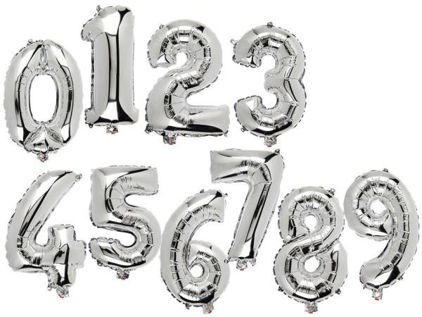 Folienballon Luftballons Zahlen silber, Zahleballon, Zahlenluftball