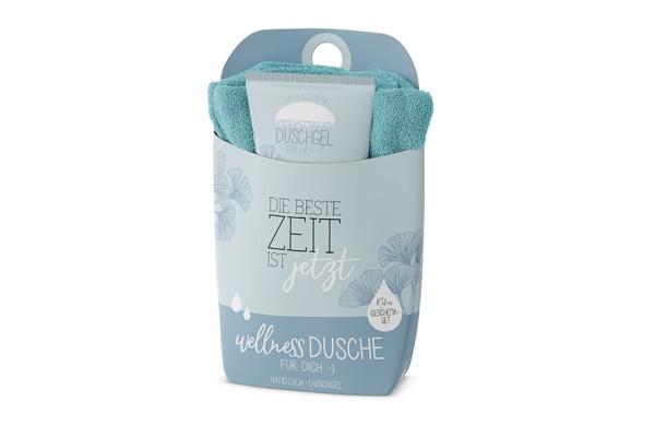 """Geschenkset Wellness Dusche (Duschgel + Frottee Handtuch) """"Die beste Zeit ist jetzt"""", 108632, 4027268282180"""