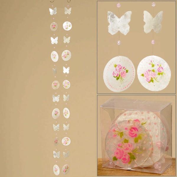 Capiz Girlande mit Rose und Schmetterling weiß Perlmutt 2er Set Fensterdekoration