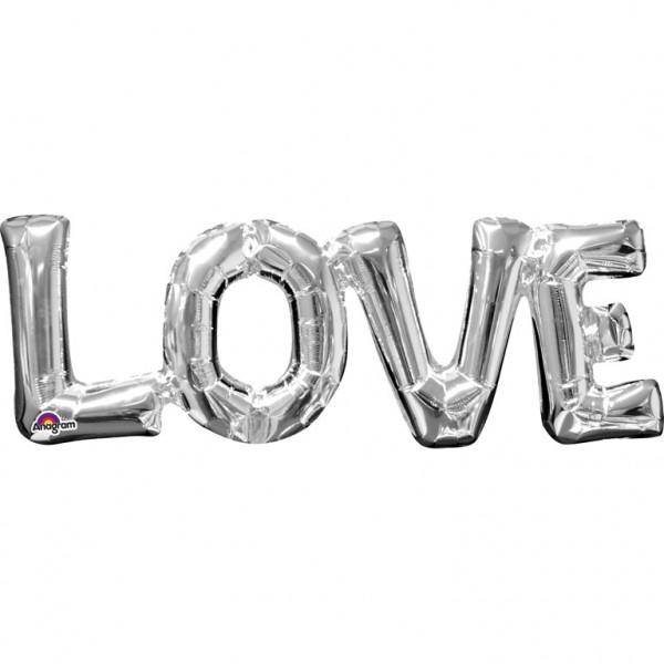 Folienballon Luftballon Schriftzug LOVE silber