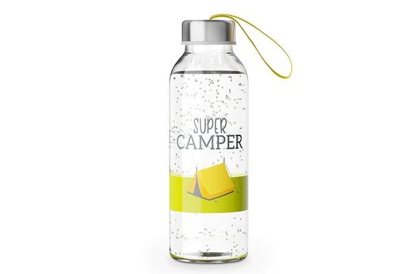 """Glas Trinkflasche mit Verschluss und Motiv / Spruch """"Super Camper"""", 540617, 4027268274666"""