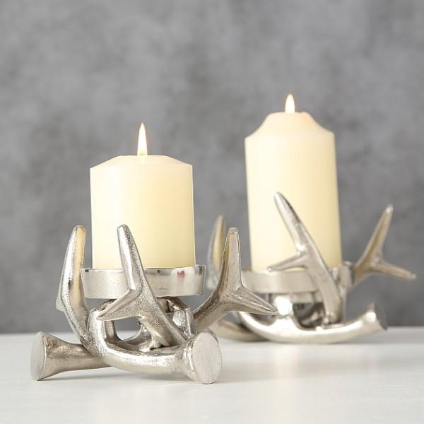 Kerzenleuchter Kerzenhalter Geweih silber 2er Set - D14-17cm, 4557300, 4020606917812