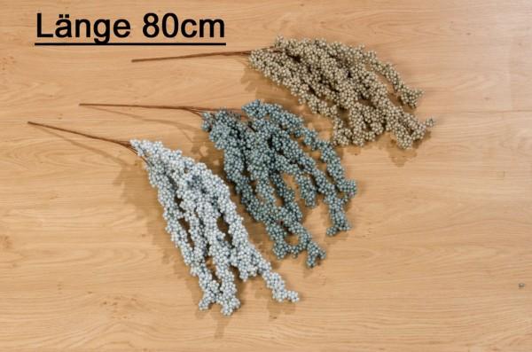 Deko Zweig Kunstblume Kunstpflanze beige, blau, blau grau