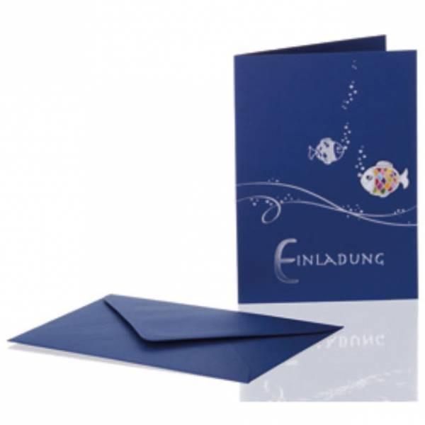 Klappkarte blau Einladungskarte blau mit Fisch für Konfirmation, Kommunion, Firmung und andere Feiern