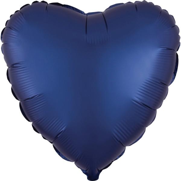 """Heliumballon Folienballon Herz blau matt """"Satin Luxe Navy - blue Heart"""", Herz-Ballon"""