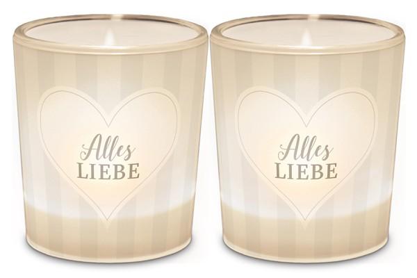"""Windlicht Kerzenglas mit Botschaft, Schriftzug Motiv Herz """"Alles Liebe"""", 640832, 4027268279708"""