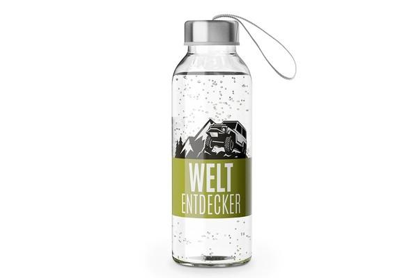 """Glas Trinkflasche mit Verschluss und Motiv / Spruch """"Weltentdecker"""", 540619, 4027268274680"""