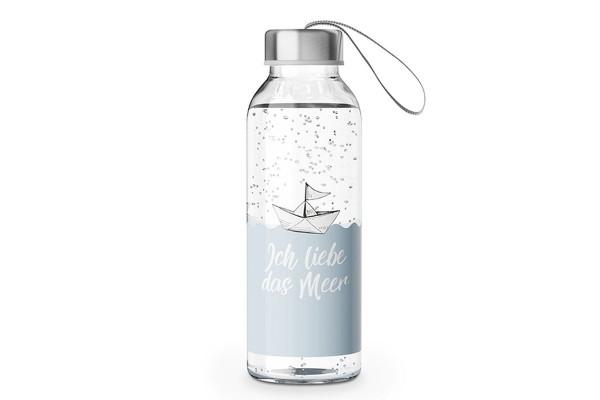"""Glas Trinkflasche mit Verschluss und Motiv / Spruch """"Ich liebe das Meer"""", 540813, 4027268272709"""